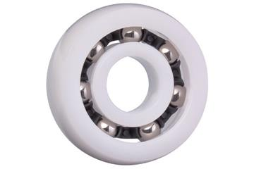 xiros® radial deep groove ball bearing, spherical outer diameter, xirodur B180, stainless steel balls, cage made of PA, mm
