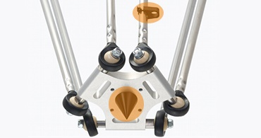 Delta robot with calibrating pin and cable clip for cable guidance